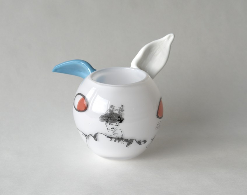 Kanin med turkost öra_